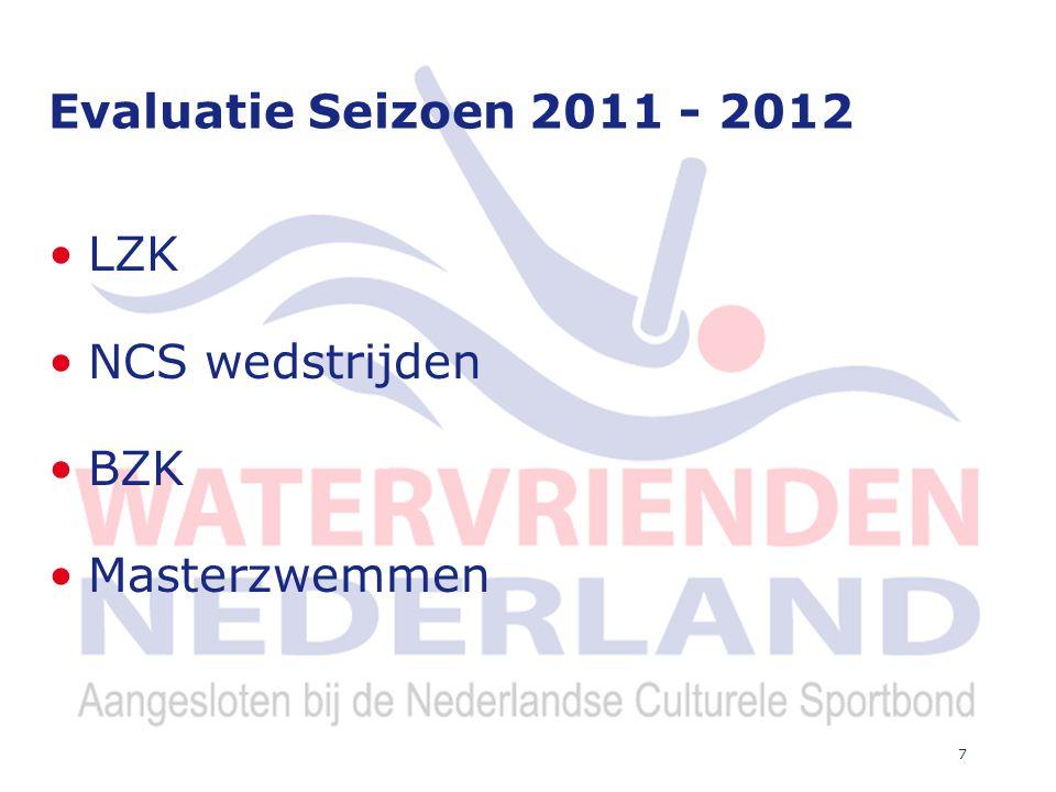 7 Evaluatie Seizoen 2011 - 2012 LZK NCS wedstrijden BZK Masterzwemmen