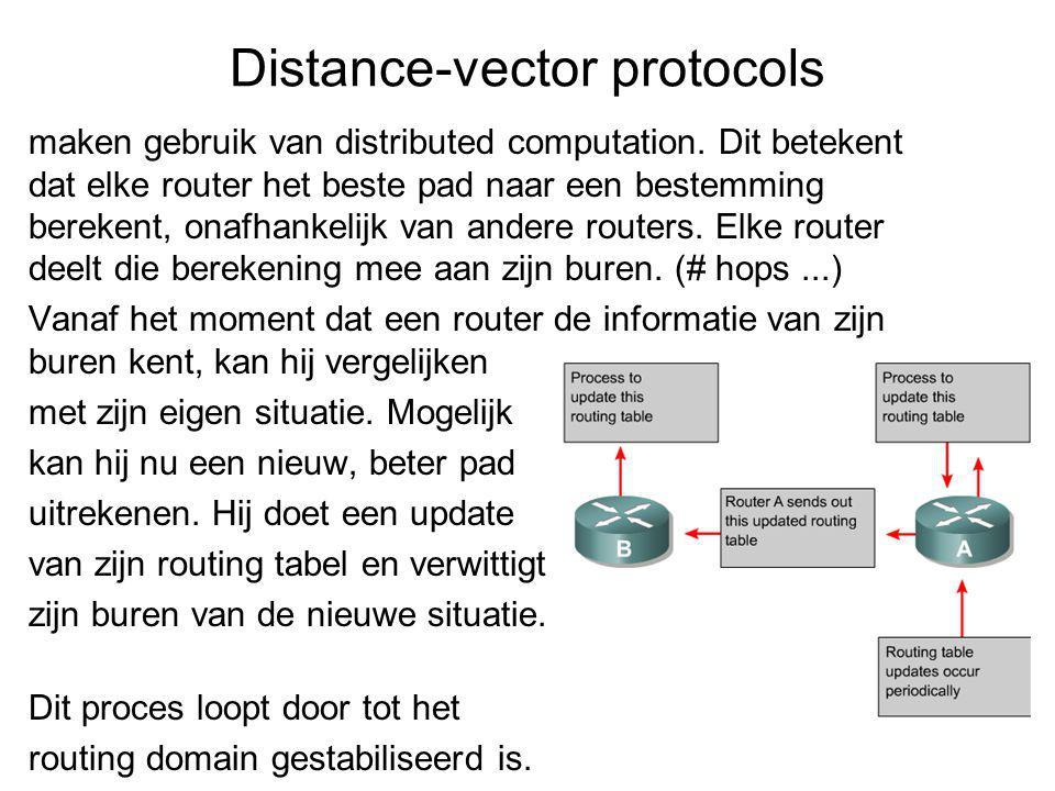 Distance-vector protocols maken gebruik van distributed computation.