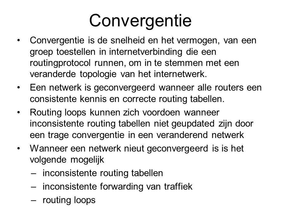 Convergentie Convergentie is de snelheid en het vermogen, van een groep toestellen in internetverbinding die een routingprotocol runnen, om in te stemmen met een veranderde topologie van het internetwerk.