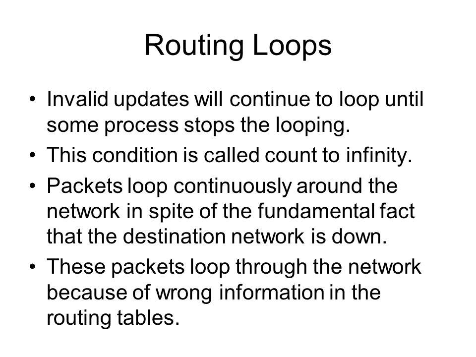 Routing Loops Invalid updates will continue to loop until some process stops the looping. This condition is called count to infinity. Packets loop con