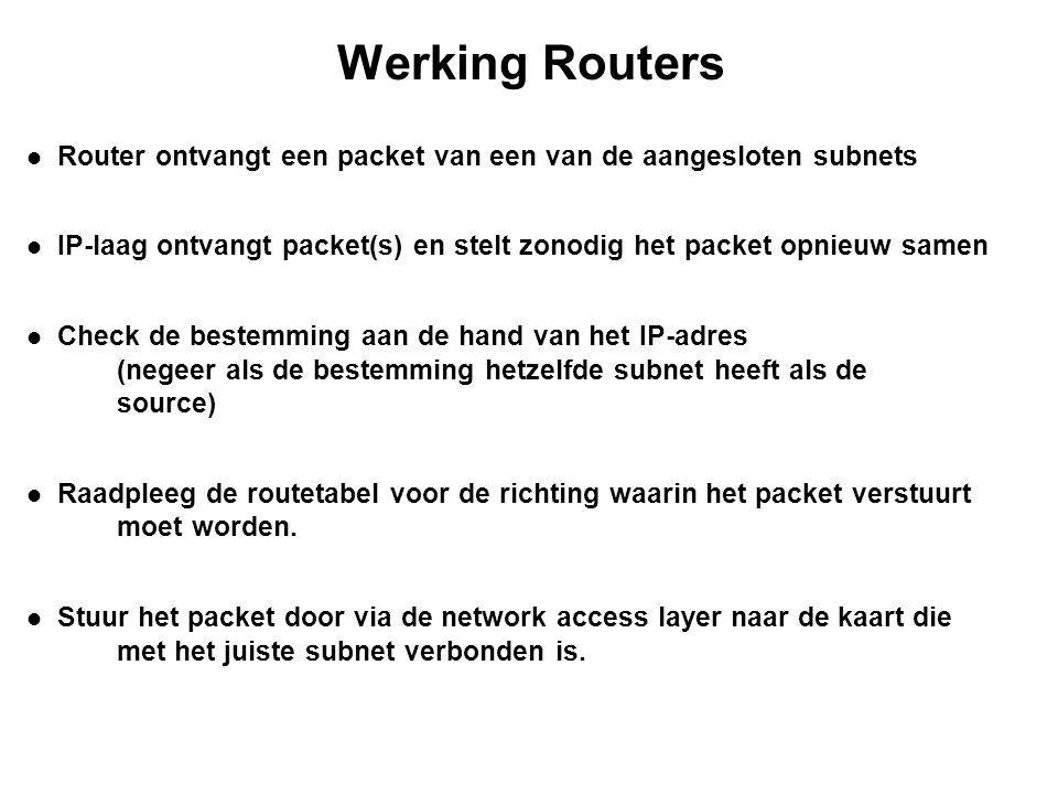 Statische / dynamische routering Statische routing De beheerder voert met de hand de routetabel in en onderhoud deze ook handmatig.