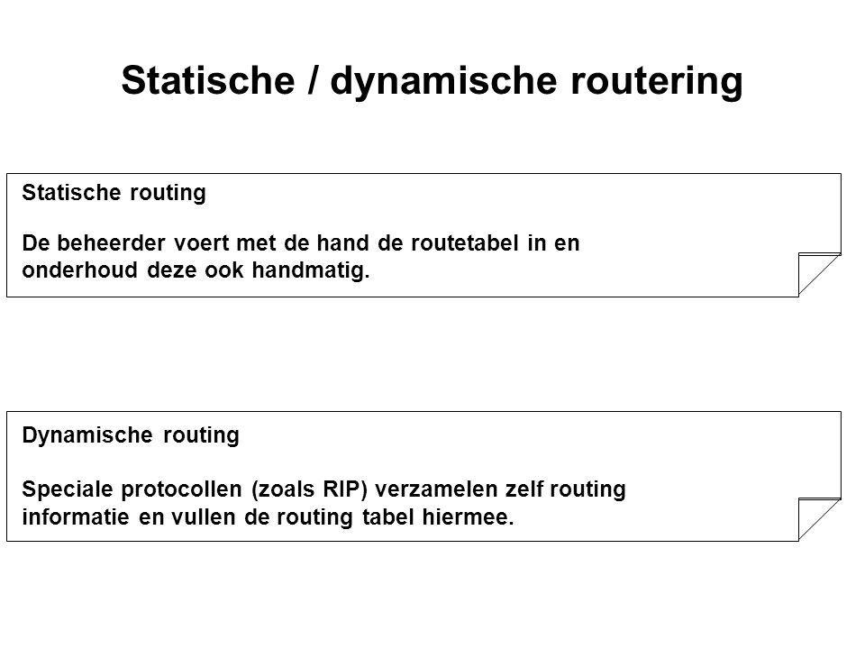 Routing Taak van het routeren (network layer) is het afleveren van een bericht op het juiste lokale (sub)net.