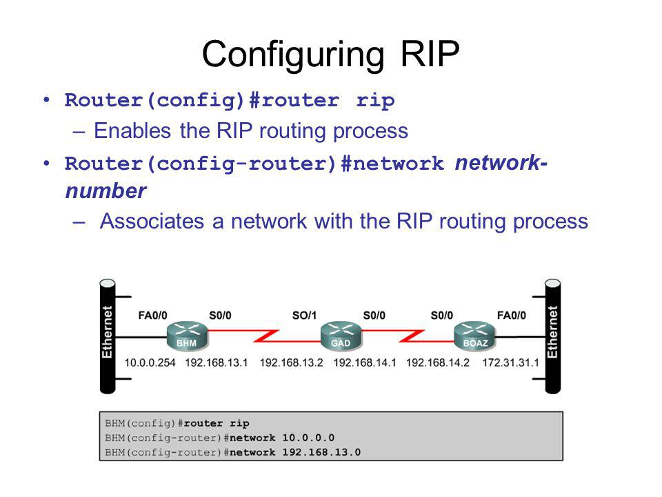 Configuring RIP Router(config)#router rip –Enables the RIP routing process Router(config-router)#network network- number – Associates a network with t