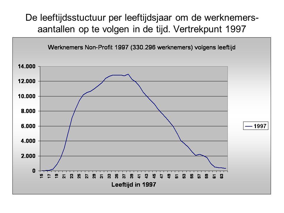 De leeftijdsstuctuur per leeftijdsjaar om de werknemers- aantallen op te volgen in de tijd.