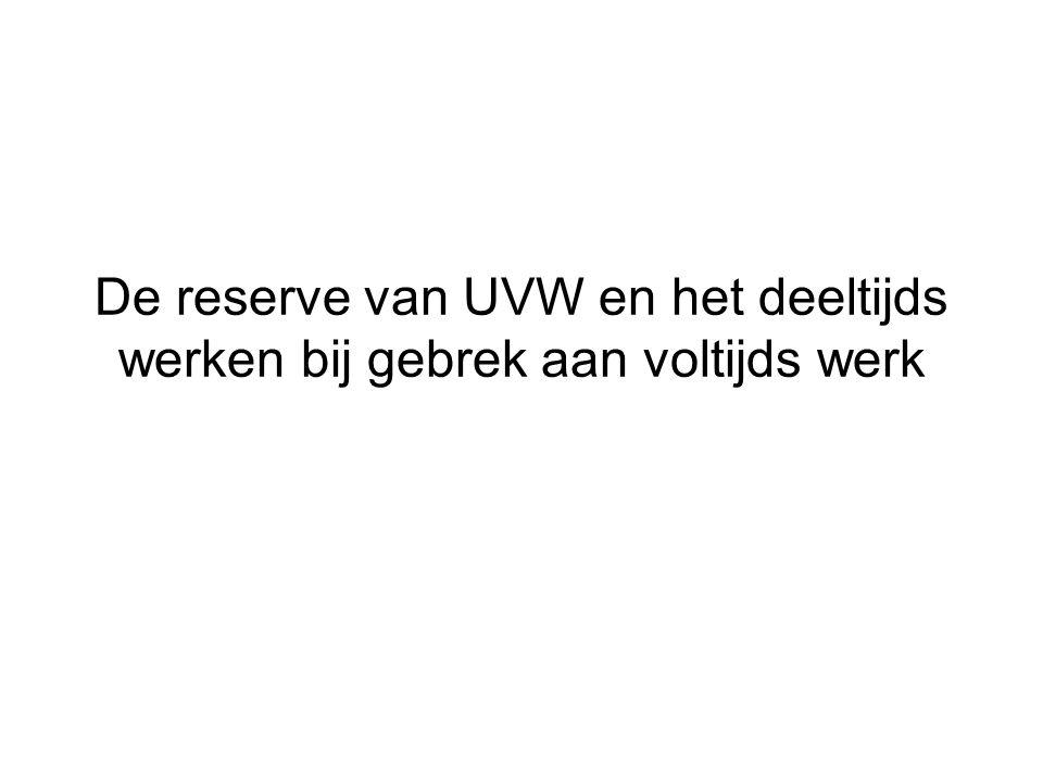 De reserve van UVW en het deeltijds werken bij gebrek aan voltijds werk