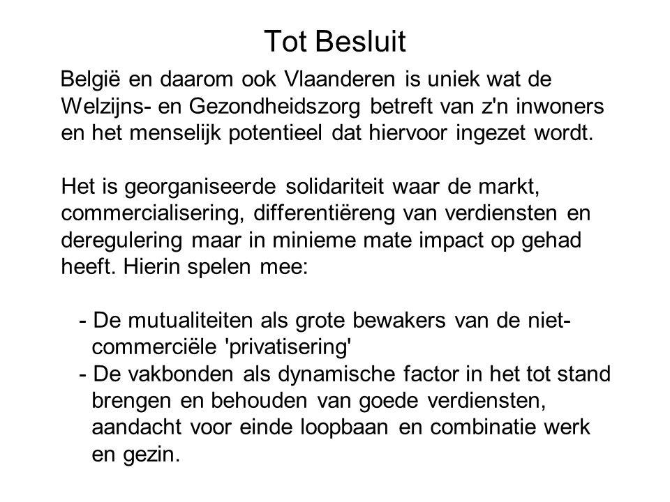 Tot Besluit België en daarom ook Vlaanderen is uniek wat de Welzijns- en Gezondheidszorg betreft van z n inwoners en het menselijk potentieel dat hiervoor ingezet wordt.