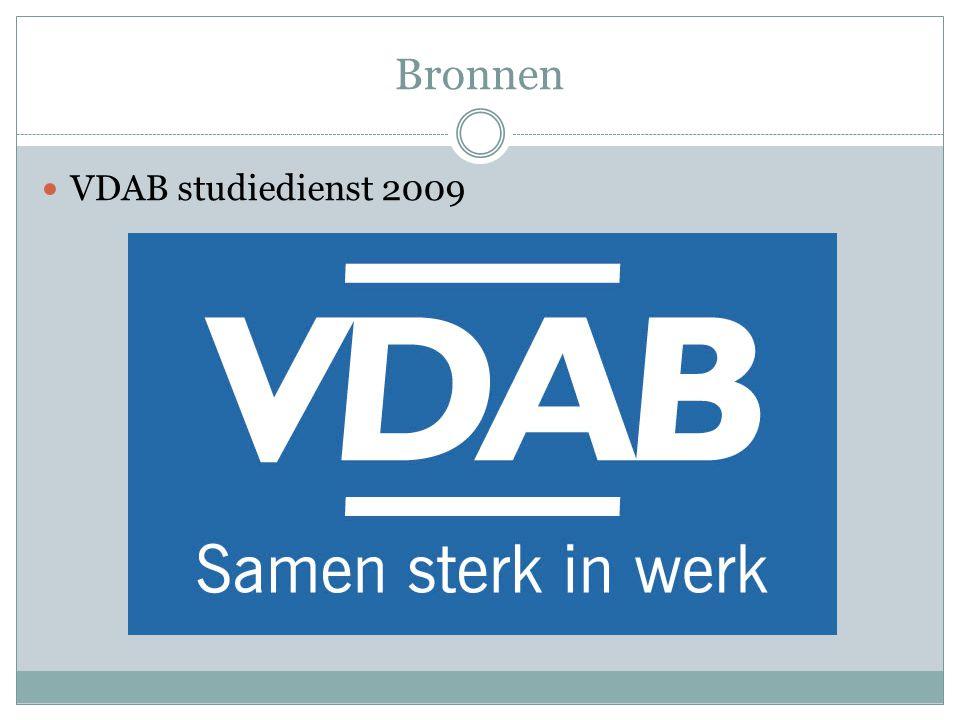 Bronnen VDAB studiedienst 2009