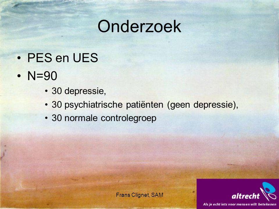 Frans Clignet, SAM Onderzoek PES en UES N=90 30 depressie, 30 psychiatrische patiënten (geen depressie), 30 normale controlegroep