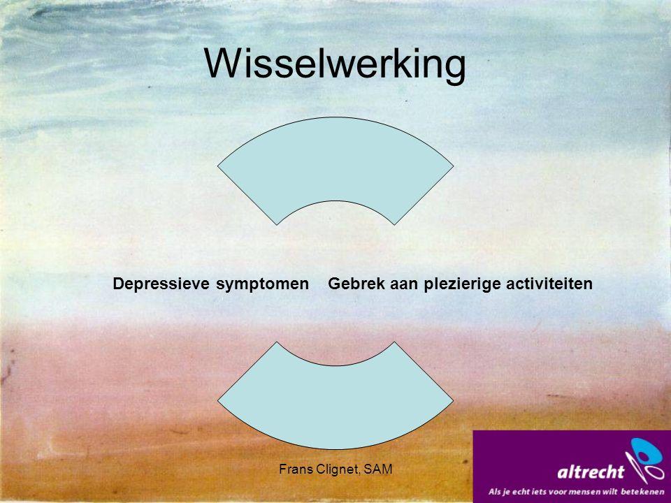 Frans Clignet, SAM Wisselwerking Depressieve symptomen Gebrek aan plezierige activiteiten