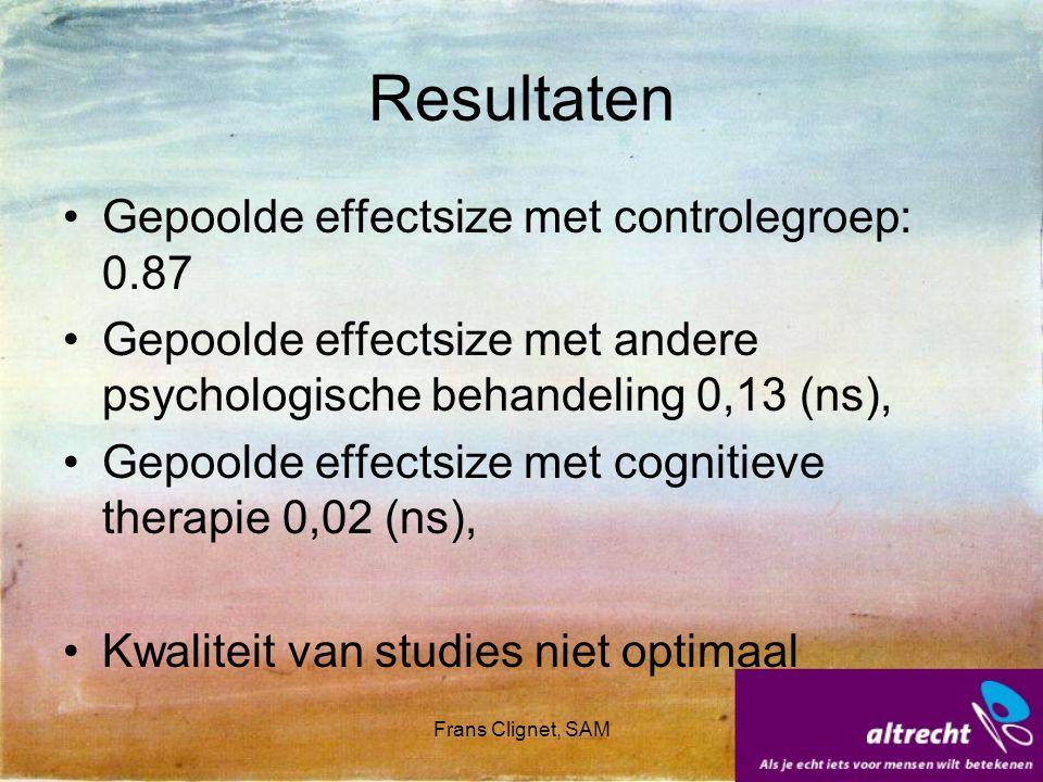 Frans Clignet, SAM Resultaten Gepoolde effectsize met controlegroep: 0.87 Gepoolde effectsize met andere psychologische behandeling 0,13 (ns), Gepoold