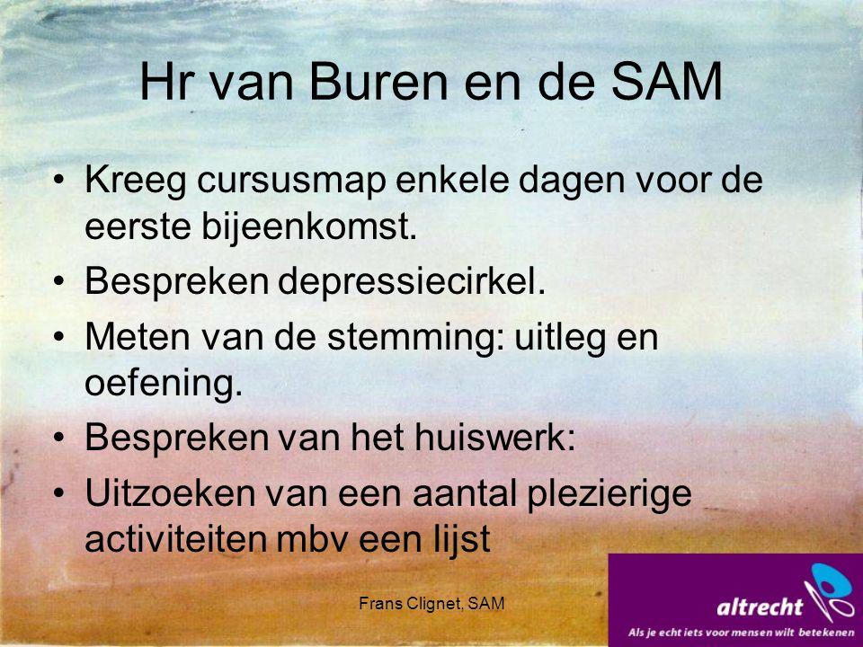 Frans Clignet, SAM Hr van Buren en de SAM Kreeg cursusmap enkele dagen voor de eerste bijeenkomst. Bespreken depressiecirkel. Meten van de stemming: u