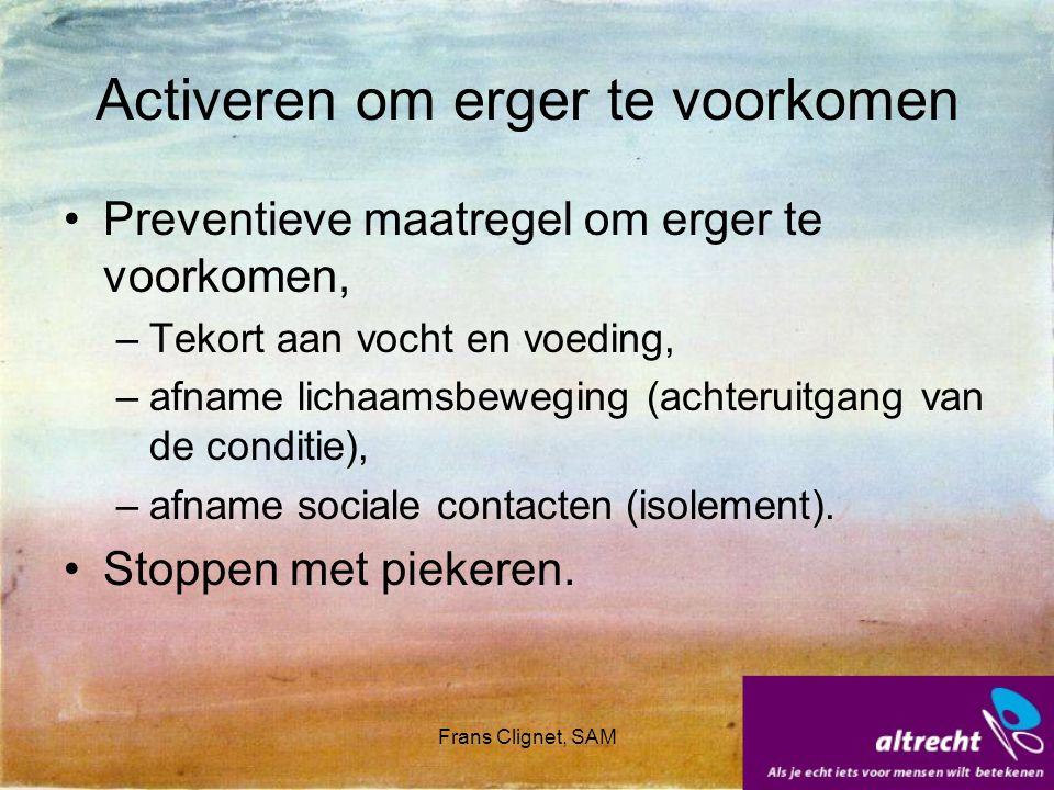 Frans Clignet, SAM Activeren om te leren Lewinsohn: activeren als gedragstherapeutische interventie.