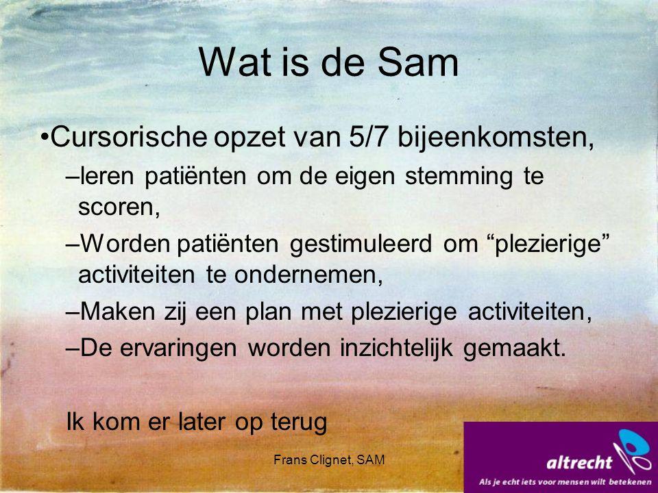 Frans Clignet, SAM Wat is de Sam Cursorische opzet van 5/7 bijeenkomsten, –leren patiënten om de eigen stemming te scoren, –Worden patiënten gestimule