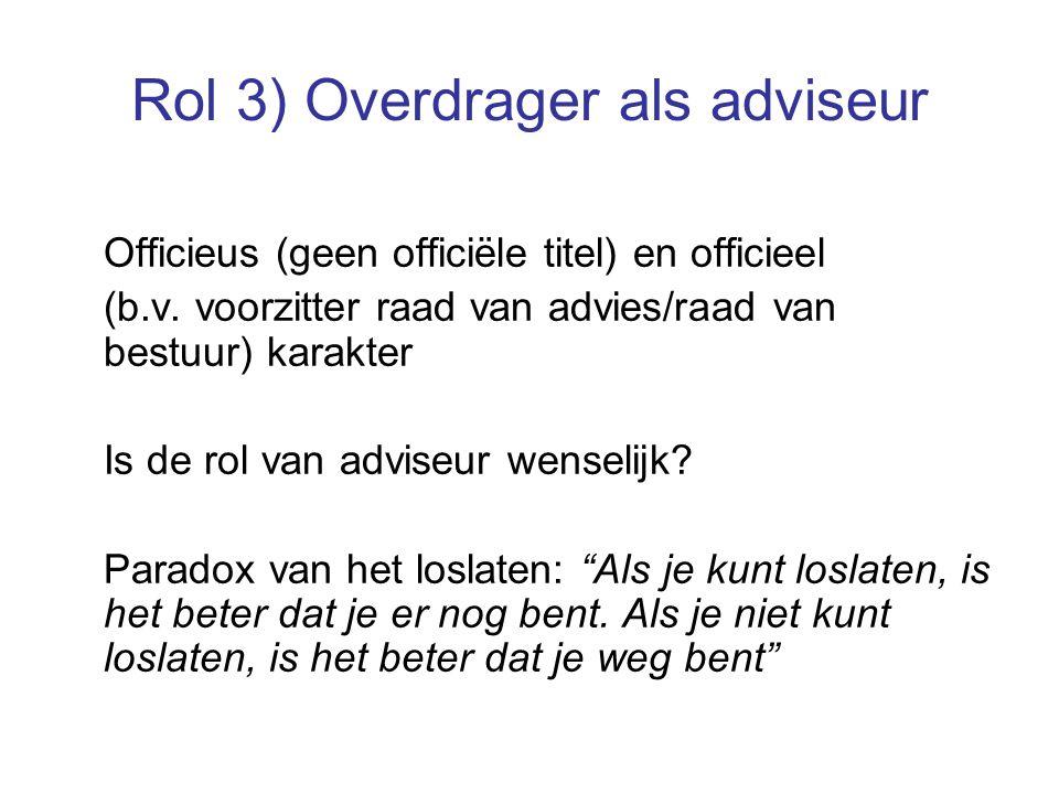 Rol 3) Overdrager als adviseur Officieus (geen officiële titel) en officieel (b.v.