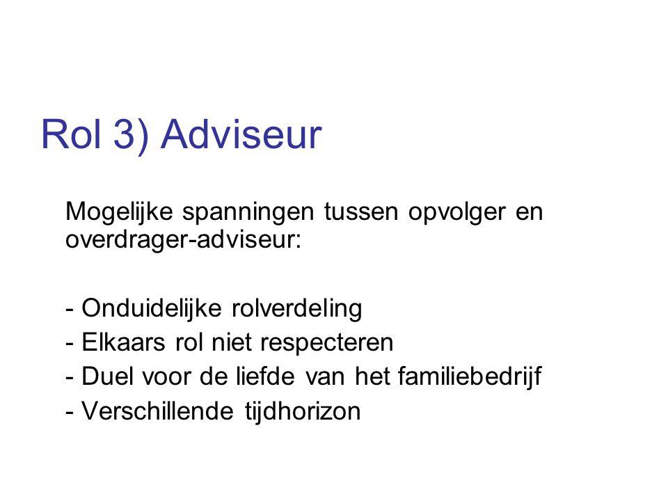 Rol 3) Adviseur Mogelijke spanningen tussen opvolger en overdrager-adviseur: - Onduidelijke rolverdeling - Elkaars rol niet respecteren - Duel voor de liefde van het familiebedrijf - Verschillende tijdhorizon
