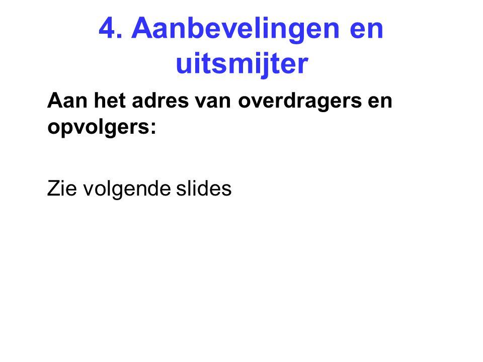 4. Aanbevelingen en uitsmijter Aan het adres van overdragers en opvolgers: Zie volgende slides