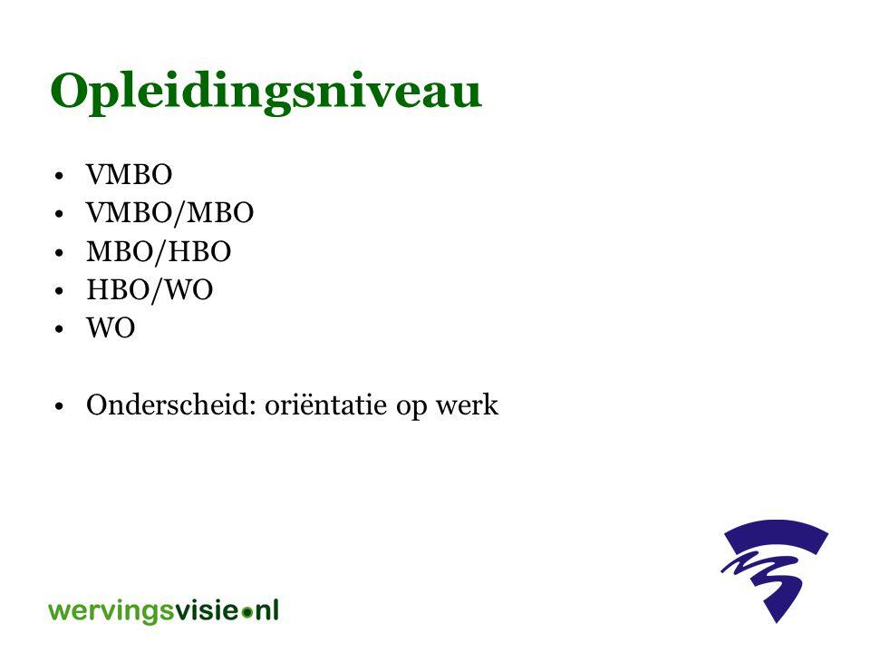 Opleidingsniveau VMBO VMBO/MBO MBO/HBO HBO/WO WO Onderscheid: oriëntatie op werk