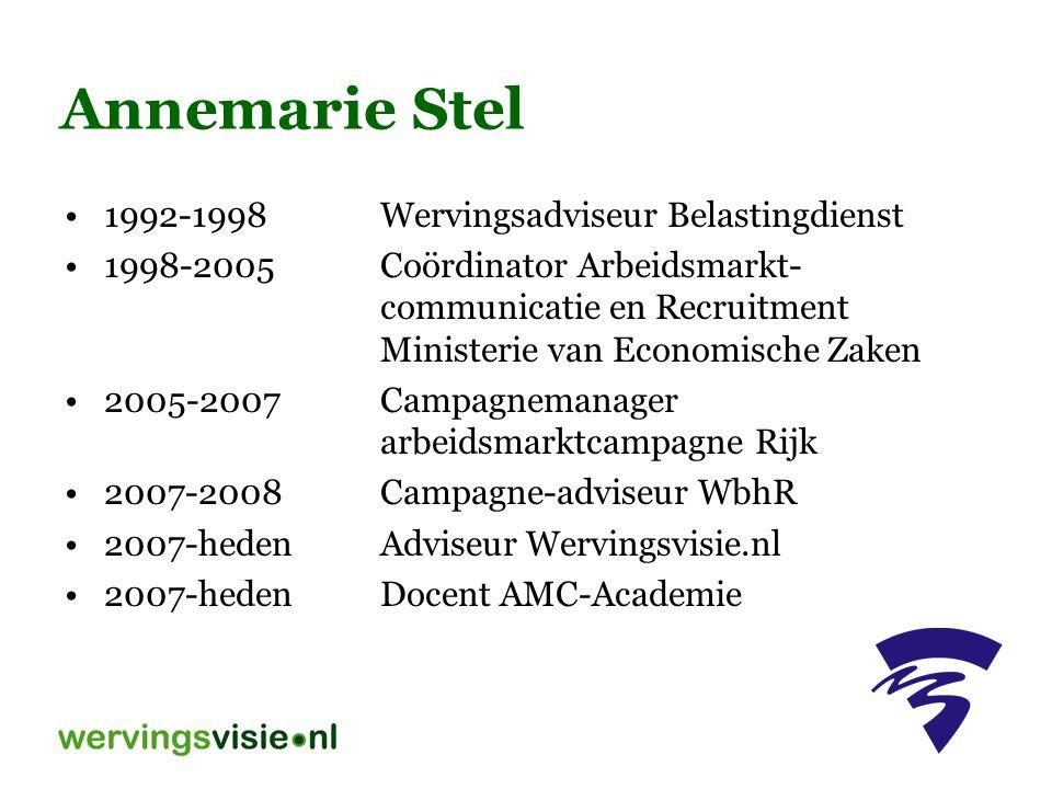Annemarie Stel 1992-1998Wervingsadviseur Belastingdienst 1998-2005Coördinator Arbeidsmarkt- communicatie en Recruitment Ministerie van Economische Zaken 2005-2007Campagnemanager arbeidsmarktcampagne Rijk 2007-2008Campagne-adviseur WbhR 2007-hedenAdviseur Wervingsvisie.nl 2007-hedenDocent AMC-Academie