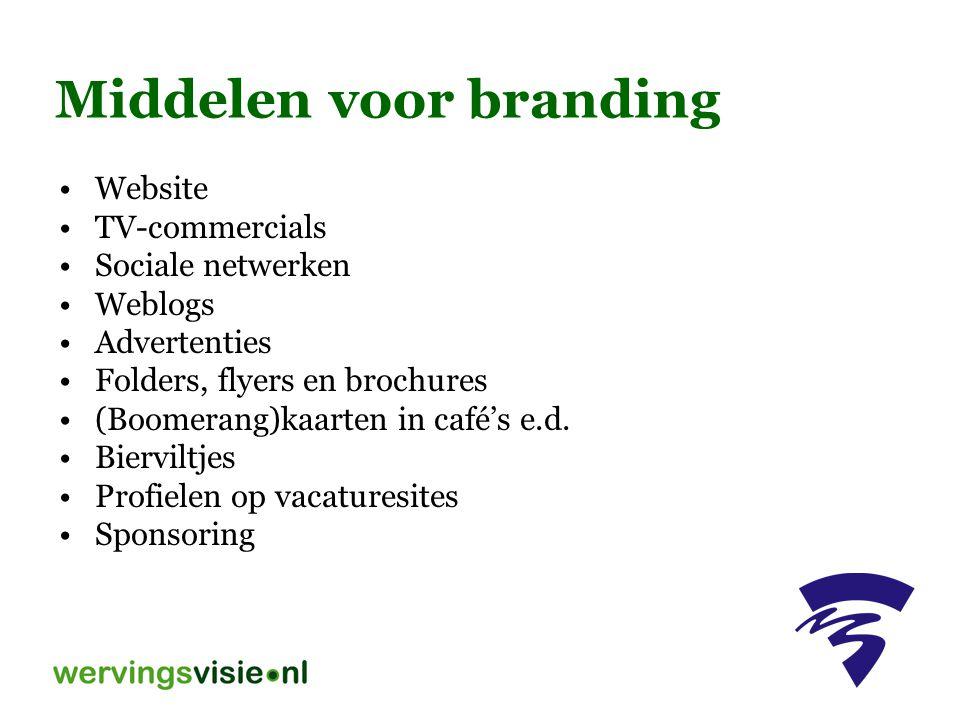 Middelen voor branding Website TV-commercials Sociale netwerken Weblogs Advertenties Folders, flyers en brochures (Boomerang)kaarten in café's e.d. Bi
