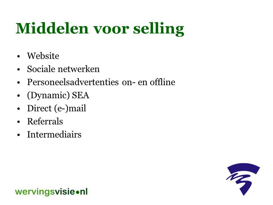 Middelen voor selling Website Sociale netwerken Personeelsadvertenties on- en offline (Dynamic) SEA Direct (e-)mail Referrals Intermediairs