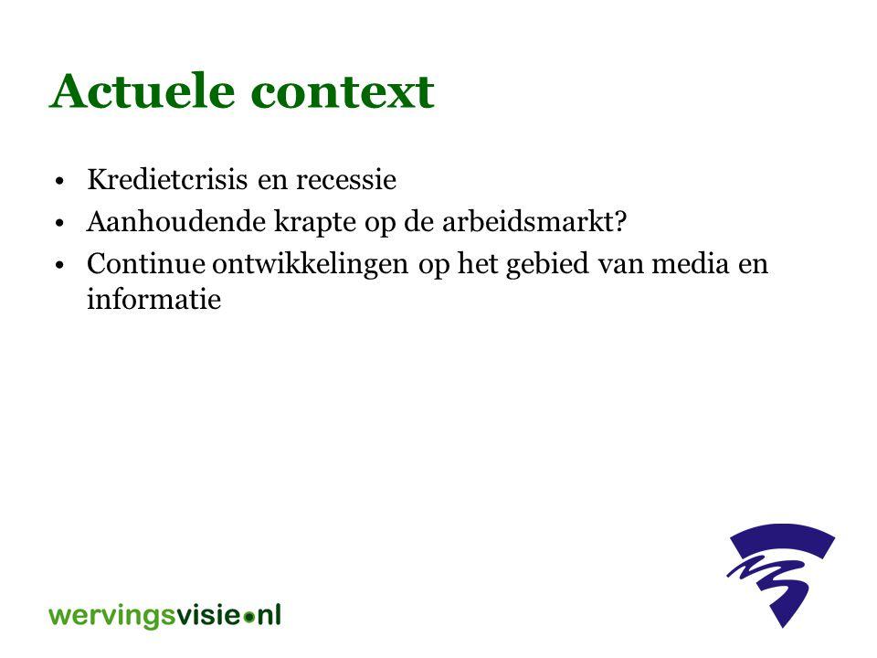 Methode Onderzoek onder eigen medewerkers Extern onderzoek, bijvoorbeeld AGO, NOA Generiek profileren met bijvoorbeeld Wervingswereld.nl; aanvullen met interviews, personeelsgegevens e.d.