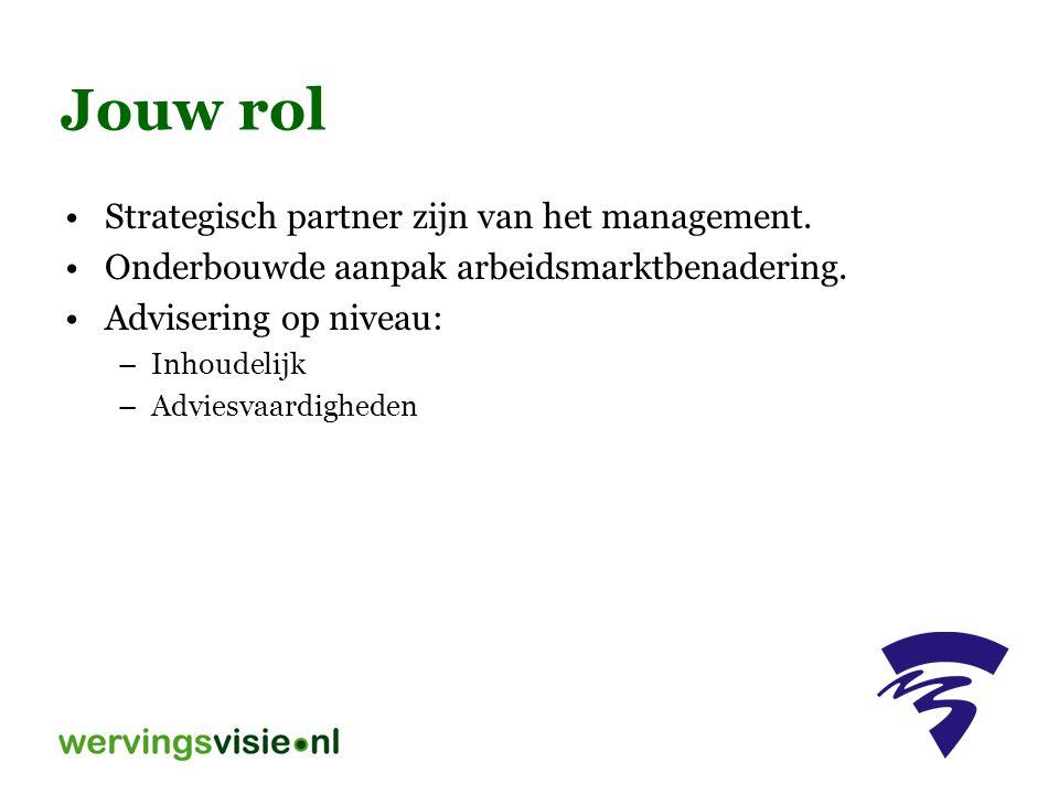 Jouw rol Strategisch partner zijn van het management. Onderbouwde aanpak arbeidsmarktbenadering. Advisering op niveau: –Inhoudelijk –Adviesvaardighede