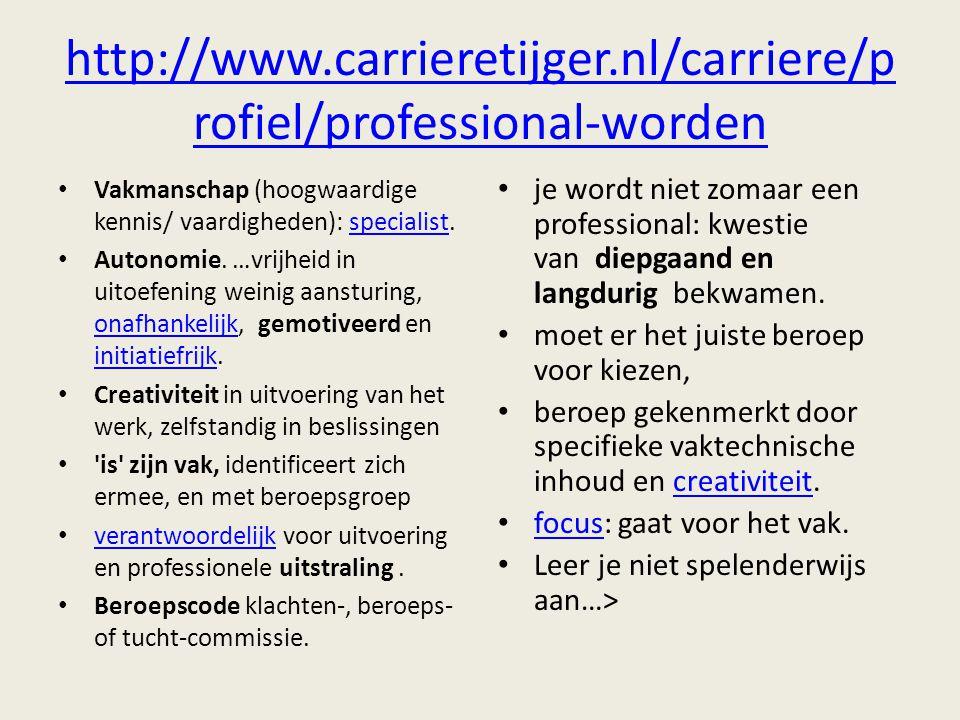 http://www.carrieretijger.nl/carriere/p rofiel/professional-worden Vakmanschap (hoogwaardige kennis/ vaardigheden): specialist.specialist Autonomie. …