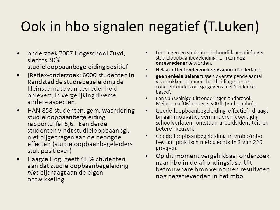 Ook in hbo signalen negatief (T.Luken) onderzoek 2007 Hogeschool Zuyd, slechts 30% studieloopbaanbegeleiding positief [Reflex-onderzoek: 6000 studente
