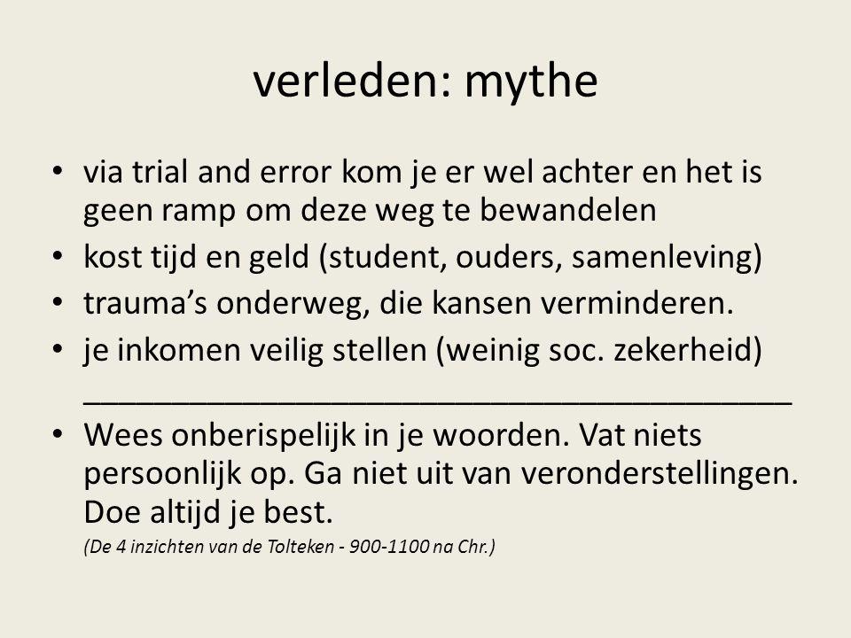verleden: mythe via trial and error kom je er wel achter en het is geen ramp om deze weg te bewandelen kost tijd en geld (student, ouders, samenleving