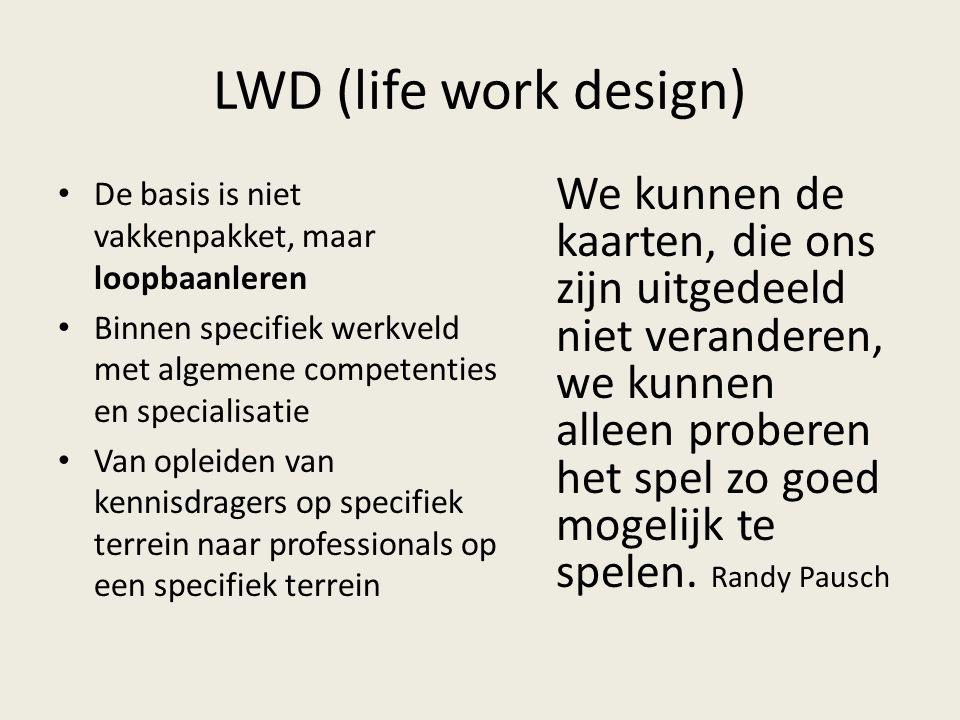 LWD (life work design) De basis is niet vakkenpakket, maar loopbaanleren Binnen specifiek werkveld met algemene competenties en specialisatie Van ople