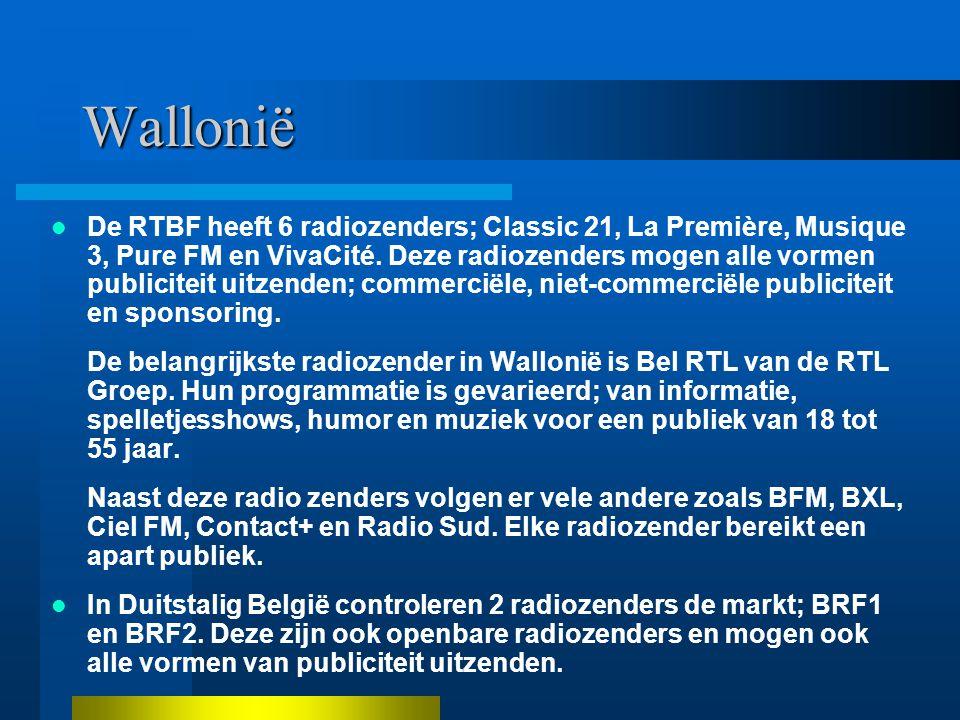 Wallonië De RTBF heeft 6 radiozenders; Classic 21, La Première, Musique 3, Pure FM en VivaCité.