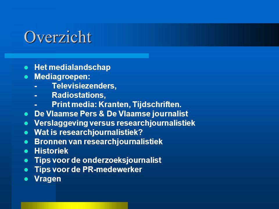 Overzicht Het medialandschap Mediagroepen: -Televisiezenders, -Radiostations, -Print media: Kranten, Tijdschriften.