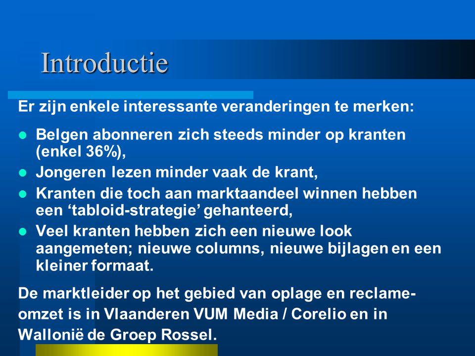 Introductie Er zijn enkele interessante veranderingen te merken: Belgen abonneren zich steeds minder op kranten (enkel 36%), Jongeren lezen minder vaak de krant, Kranten die toch aan marktaandeel winnen hebben een 'tabloid-strategie' gehanteerd, Veel kranten hebben zich een nieuwe look aangemeten; nieuwe columns, nieuwe bijlagen en een kleiner formaat.