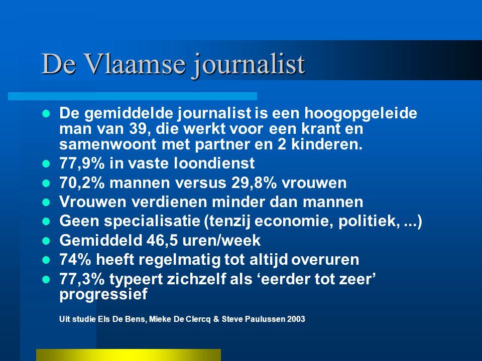 De Vlaamse journalist De gemiddelde journalist is een hoogopgeleide man van 39, die werkt voor een krant en samenwoont met partner en 2 kinderen.