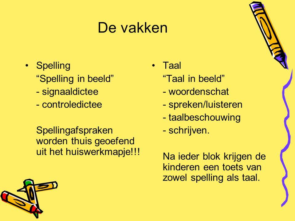 """De vakken Spelling """"Spelling in beeld"""" - signaaldictee - controledictee Spellingafspraken worden thuis geoefend uit het huiswerkmapje!!! Taal """"Taal in"""