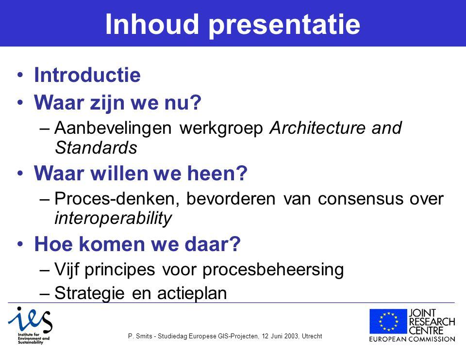 P. Smits - Studiedag Europese GIS-Projecten, 12 Juni 2003, Utrecht Inhoud presentatie Introductie Waar zijn we nu? –Aanbevelingen werkgroep Architectu