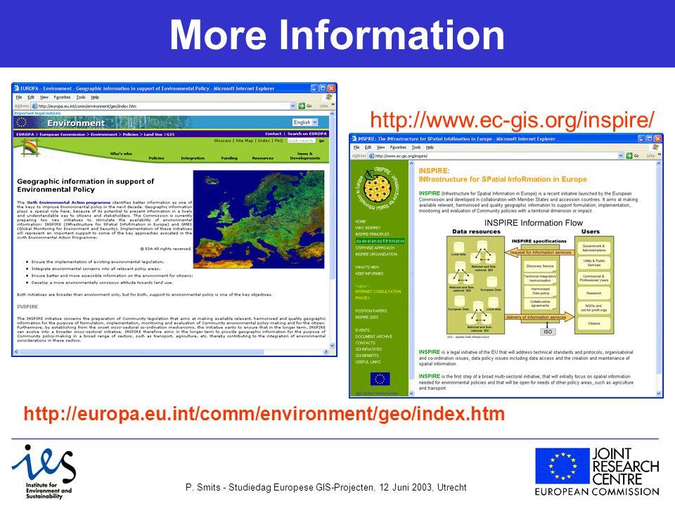 P. Smits - Studiedag Europese GIS-Projecten, 12 Juni 2003, Utrecht More Information http://www.ec-gis.org/inspire/ http://europa.eu.int/comm/environme