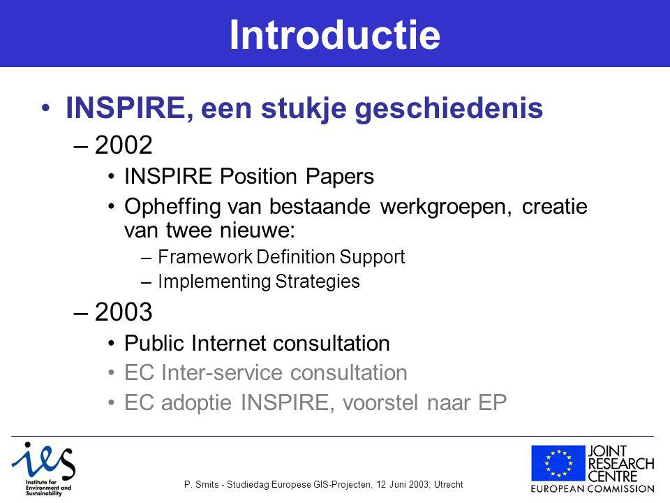 P. Smits - Studiedag Europese GIS-Projecten, 12 Juni 2003, Utrecht Introductie INSPIRE, een stukje geschiedenis –2002 INSPIRE Position Papers Opheffin
