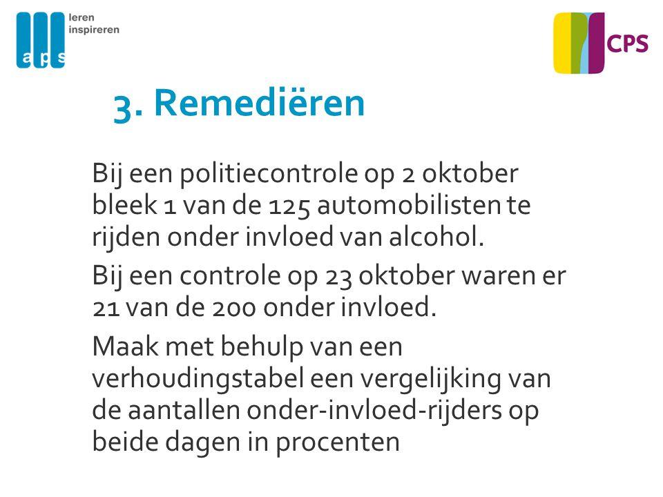 3. Remediëren Bij een politiecontrole op 2 oktober bleek 1 van de 125 automobilisten te rijden onder invloed van alcohol. Bij een controle op 23 oktob