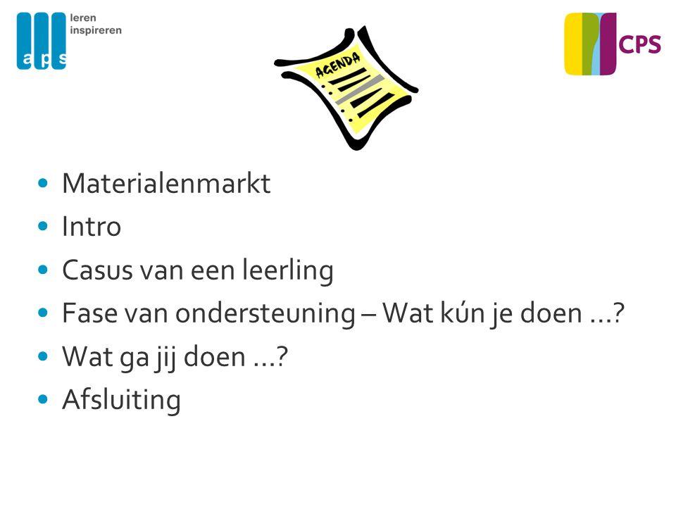 Materialenmarkt Intro Casus van een leerling Fase van ondersteuning – Wat kún je doen …? Wat ga jij doen …? Afsluiting