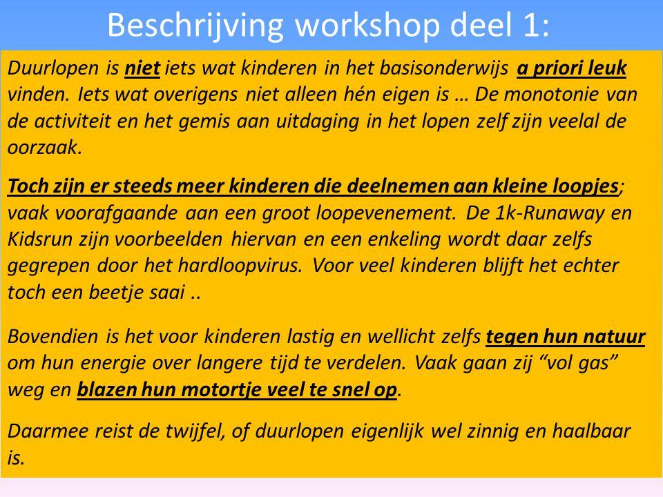 Beschrijving workshop deel 1: Duurlopen is niet iets wat kinderen in het basisonderwijs a priori leuk vinden. Iets wat overigens niet alleen hén eigen