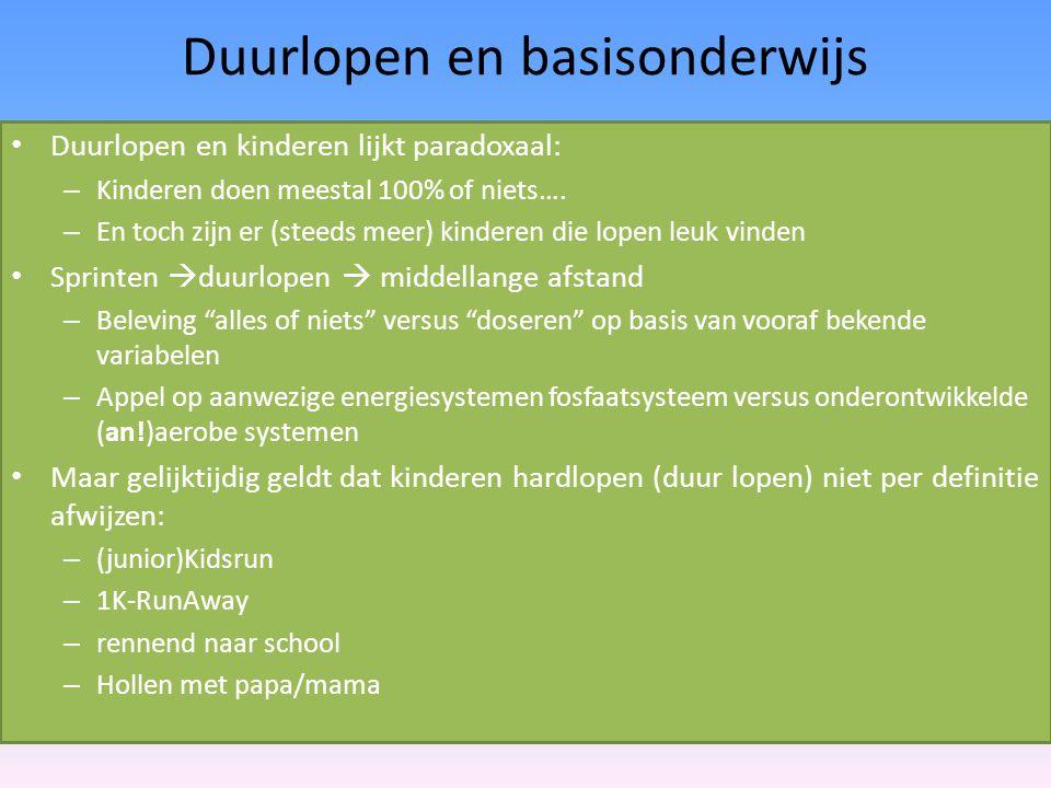 Duurlopen en basisonderwijs Duurlopen en kinderen lijkt paradoxaal: – Kinderen doen meestal 100% of niets…. – En toch zijn er (steeds meer) kinderen d