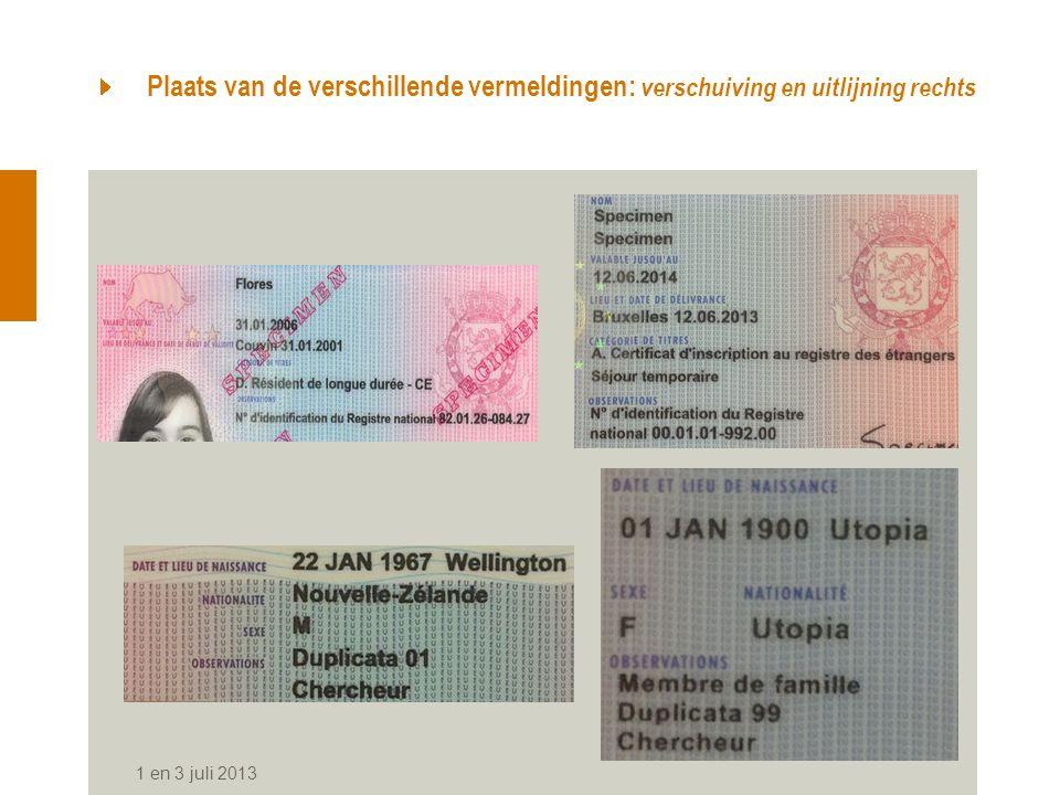 Plaats van de verschillende vermeldingen: verschuiving en uitlijning rechts 1 en 3 juli 2013