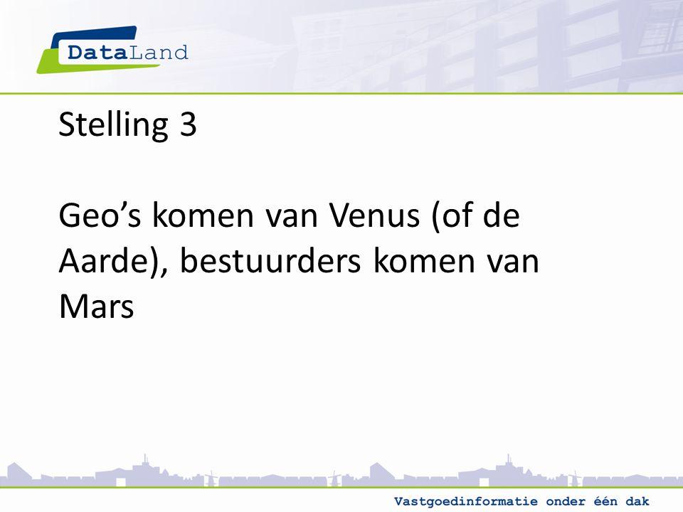 Stelling 3 Geo's komen van Venus (of de Aarde), bestuurders komen van Mars