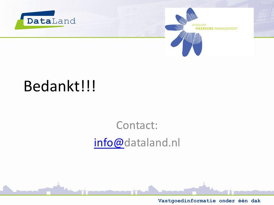 Bedankt!!! Contact: info@info@dataland.nl