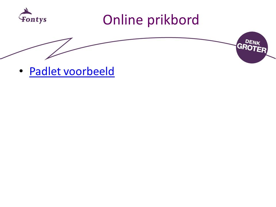 Online prikbord Padlet voorbeeld