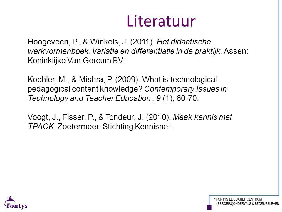 Hoogeveen, P., & Winkels, J. (2011). Het didactische werkvormenboek. Variatie en differentiatie in de praktijk. Assen: Koninklijke Van Gorcum BV. Koeh