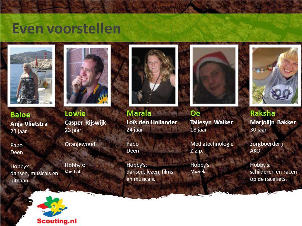 Even voorstellen Raksha Marjolijn Bakker 30 jaar zorgboerderij AKO Hobb y' s: schilderen en racen op de racefiets. Lowie Casper Rijswijk 23 jaar Oranj