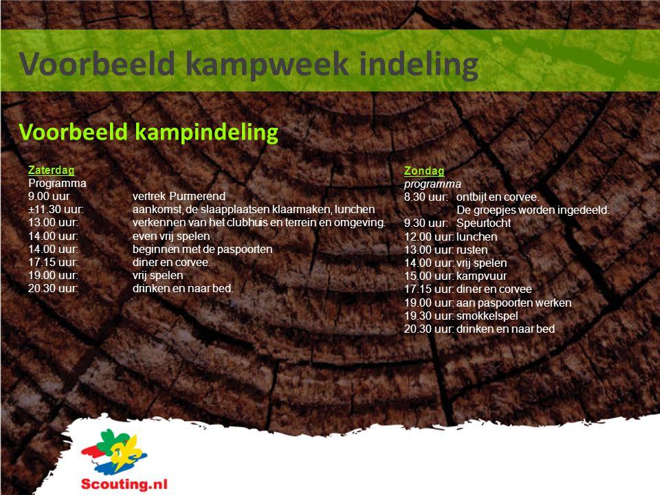 Voorbeeld kampweek indeling Voorbeeld kampindeling Zondag programma 8.30 uur:ontbijt en corvee. De groepjes worden ingedeeld. 9.30 uur:Speurtocht 12.0