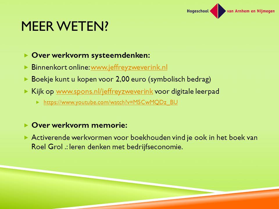 MEER WETEN?  Over werkvorm systeemdenken:  Binnenkort online: www.jeffreyzweverink.nlwww.jeffreyzweverink.nl  Boekje kunt u kopen voor 2,00 euro (s
